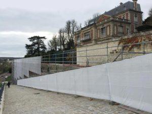 Échafaudage sur le Mur des Lions avant de la restauration de MPR
